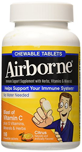 Airborne Citrus Chewable Tablets, 116 count - 1000mg of Vitamin C - Immune Support Supplement