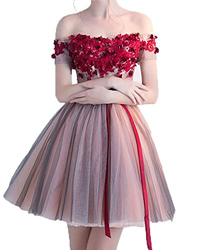Blevla Off The Shoulder Appliques A Line Homecoming Dress Short Prom Gown Pink US 12 by Blevla