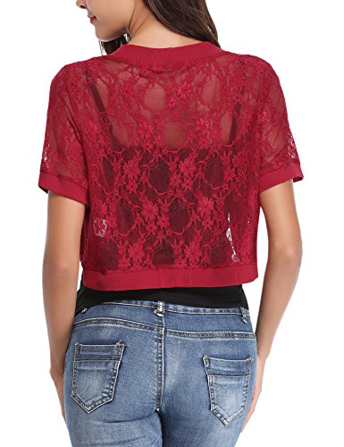 shirt spalline vino rosso delle aperta donne abito sposa t giacca manica Bolero corta senza breve elegante chic da maglia per pizzo HUpqRwRfan
