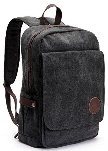 Zebella Vintage Canvas Laptop Backpack School College Rucksack Bag Black