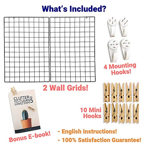 PrairieLand Wall Grid Photo Display Organizer Hanging Art, Decorations Dorm Decor Metal Wire Panel Board Picture Holder Set of 2 Black Iron Mesh Gridwall Rack Panels Clips Grids to Hang Pictures