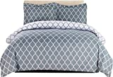 Duvet Covers and Shams Lux Decor Collection Duvet Cover Set, 1800 Count Egyptian Quality King Soft Premium Bedding Collection, 3 Piece Luxury Soft, 2 Pillow Shams (Grey/White, Full/Queen)
