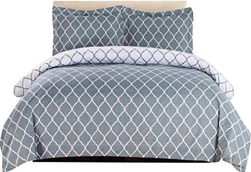 (Lux Decor Collection Duvet Cover Set, 1800 Count Egyptian Quality King Soft Premium Bedding Collection, 3 Piece Luxury Soft, 2 Pillow Shams (Grey/White, Full/Queen))