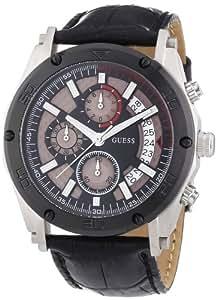 Guess Vortex W16570G1 - Reloj de caballero de cuarzo, correa de piel color negro