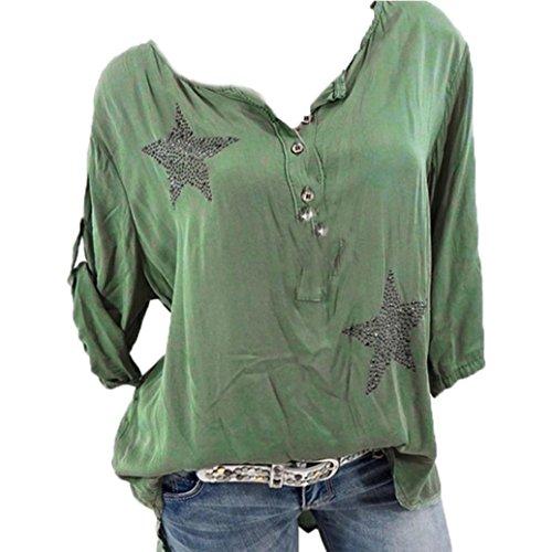 Long Sleeve Shirt Women, Casual Plus Size Floral Tops Button Blouse Tops Tunic Crop Tops T Shirt Clothing (Dark Blue, XL) (Blue, 2XL)