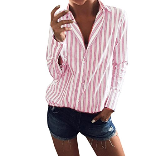 Womens Striped Loose Long Sleeve Top Fashion Casual Top T Shirt Blouse ()