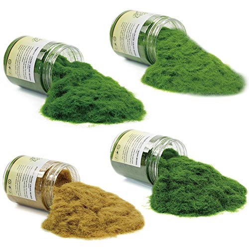CFA6 4 x 35g Mixed 5mm Static Grass Terrain Powder Green Fake Grass Fairy Garden Miniatures Landscape Artificial Sand Table Model Railway Layout