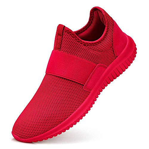 Guteidee Men Women Fashion Sneakers Athletic Mesh Lightweight Slip-on Running Shoes Red