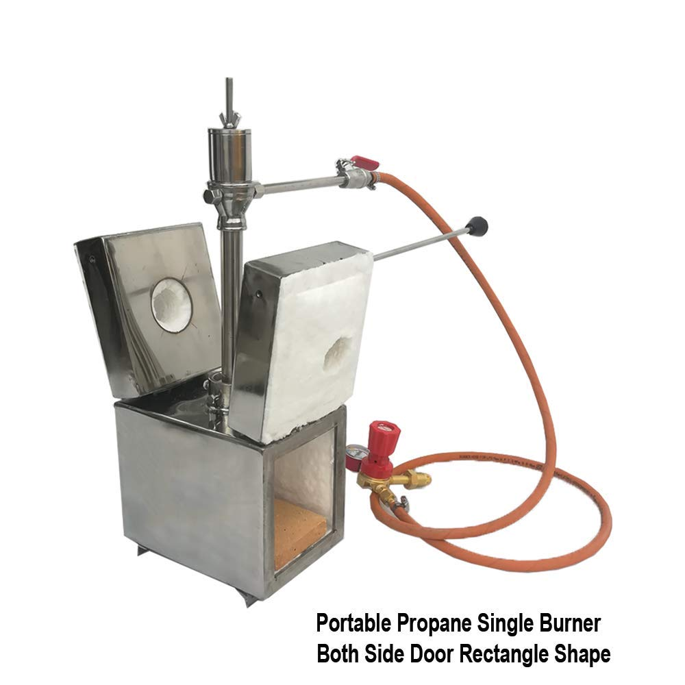 Portable Propane Single Burner with Both Side Door Knife and Tool Making Farrier Forge, Rectangle Shape