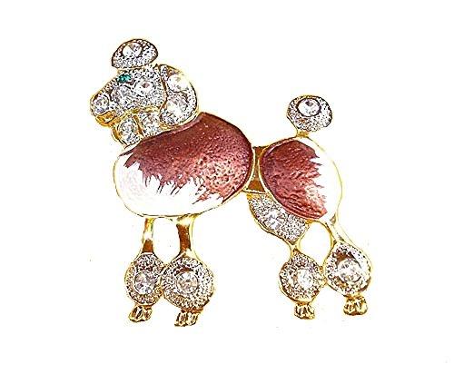 (Mevoi Genuine Cloisonne Vintage Style Poodle Austrian Crystals Pin Brooch)