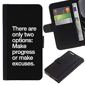 KLONGSHOP // Tirón de la caja Cartera de cuero con ranuras para tarjetas - progresar hay excusa inspiradora motivación - Apple Iphone 6 PLUS 5.5 //