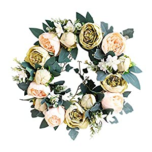 "Evoio Flower Wreath, 14"" Artificial Peony Wreath Silk Flowers with Handmade Natural Rattan Door Christmas Wreaths for Front Door Home Wedding Thanksgiving Easter Mothers Day 87"