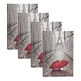 DesignOvation Paris with Red Umbrella Photo Album, Holds 300 4x6 Photos, Set of 4