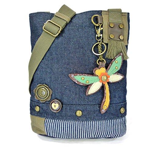 - Chala Patch Cross-Body Women Handbag, Blue Denim Canvas Messenger Bag - Dragonfly Denim