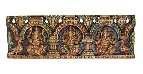 (Triple Ganeshas Panel - South Indian Temple Wood Carving)