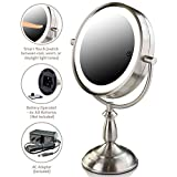 Ovente 7.5 Inch Lighted Tabletop Vanity Mirror Battery or Cord Operated SmartTouch Cool Warm Daylight LED Tones 1X 10X Magnification Nickel Brushed (MPT75BR1X10X)