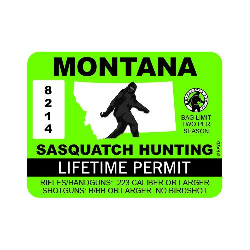 "RDW Montana Sasquatch Hunting Permit - Color Sticker - Decal - Die Cut - Size: 4.00"" x 3.00"""
