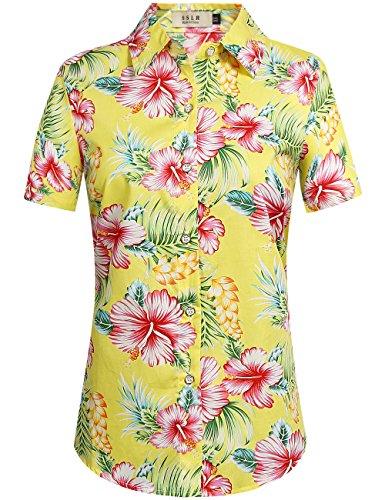 SSLR Women's Floral Button Down Causal Short Sleeve Aloha Hawaiian Shirt (X-Small, Bright Yellow)