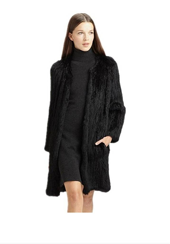 YR Lover Women's Real Knitted Rabbit Fur Long Coats False