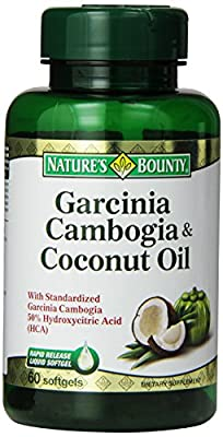 Natures Bounty Garcinia Cambogia Coconut Oil Softgels, 1000 mg, 60 Count