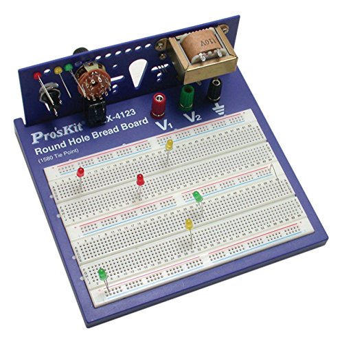 Pro'sKit 900-248 Round Hole Breadboard, 1580 Tie Points, ABS/Phosphor Bronze