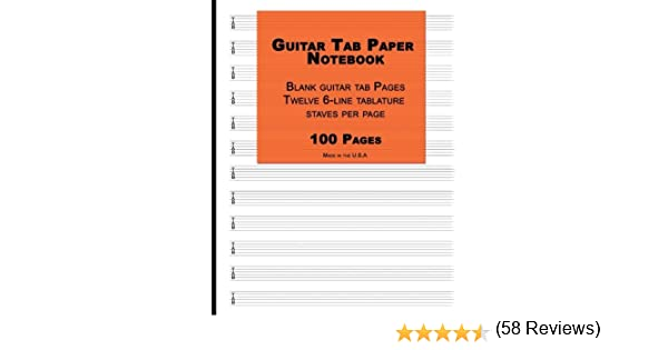 Guitar Tab Paper: Orange Cover ,Blank guitar tab paper Notebook ...