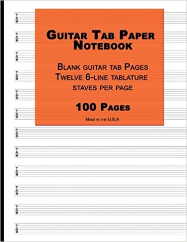 Guitar Tab Paper: Orange Cover ,Blank guitar tab paper Notebook featuring twelve 6-line tablature staves per page with a