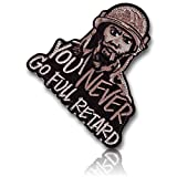 [Single Count] Custom and Unique (3'' x 3'' Inch) ''You Never Go Full Retard'' Soldier w/ Cigar In His Mouth Funny Military Morale Iron On Embroidered Iron On Patch {Black, Tan, & Brown Colors} {LICENSED}