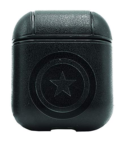 - Movie Film Captain America Emblem (Vintage Black) Air Pods Protective Leather Case Cover - a New Class of Luxury to Your AirPods - Premium PU Leather and Handmade exquisitely by Master Craftsmen