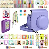 Katia Instant Film Camera Accessories Bundle Set for Fujifilm Instax Mini 8 Camera with Instax Mini 8 Case/ Album/ Frames/ Selfie Lens/ Filter/ Strap/ Stickers Set4 (Purple)
