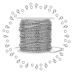 Silver Stainless Steel Cable Chain WXJ13 Brand 11m 36FT Jewelry Making Chains with 20 Lobster Clasps and 30 Jump Rings for Pendant Necklace DIY Making 1.5mm