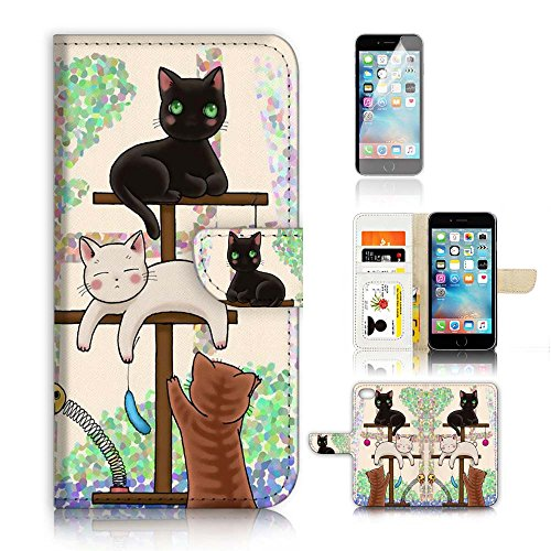 ( For iPhone 8 / iPhone 7 ) Wallet Case Cover & Screen Protector Bundle! A1944 - Cat Case Big Protector