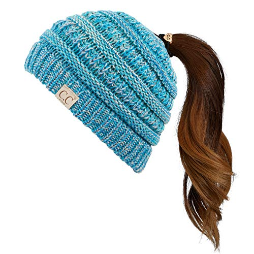 C.C Children Kids Beanie Chunky Knitted Beanie Pony Tail Hat for Kid Ages 2-7 (MB-847) (MB-816) (Teal Multi)