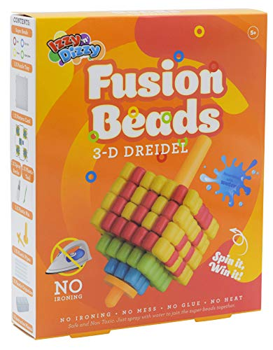 Izzy 'n' Dizzy Hanukkah 3-D Fusion Beads Dreidel - Create Your Own 3-D Draydel - Hanukah Arts and Crafts - Gifts and Games