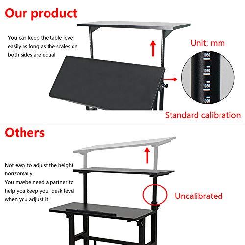 Heyesk Stand Up Desk Height Adjustable Home Office Desk with Standing (Black) by heyesk (Image #2)