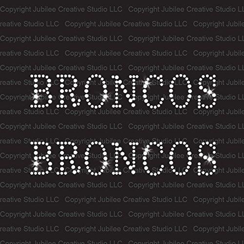 Set of 2 Broncos Team Mascot Iron On Rhinestone Crystal T-shirt Transfers by Jubilee Rhinestones
