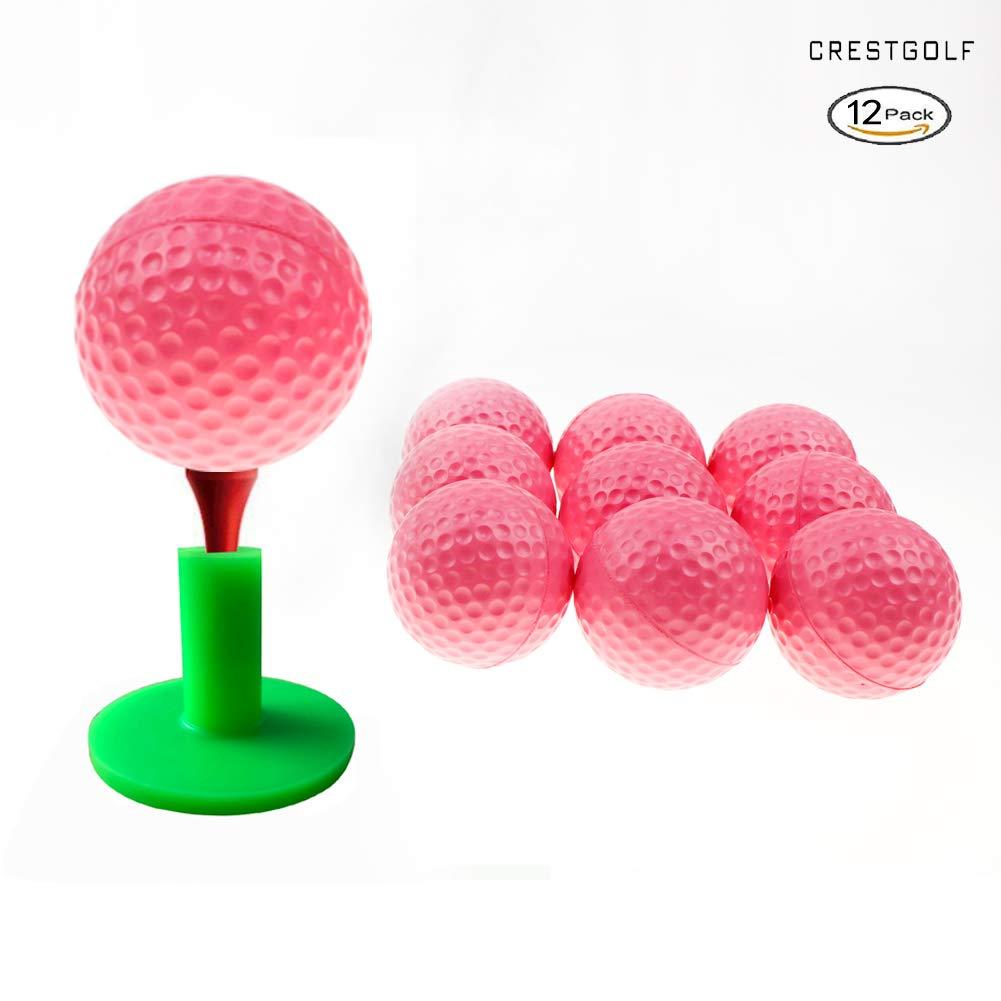 Crestgolf Foam Sponge Practice Golf Ball Soft Balls for Cats 12/50 pcs per Bag (Pink) by Crestgolf