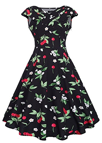 [Women's High Waist Classy Retro Swing Banquet Dresses Cherry Print Black XL] (Cherry Apple Costumes)