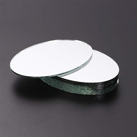 0.1cm Immagine 1 3.6 5.5 Healifty - 20 fogli per specchi, in vetro, a forma ovale, per decorazioni fai da te e fai da te, stile grande