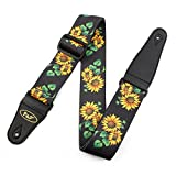 uxcell Faux Leather End Sunflower Print Adjustable Acoustic Electric Guitar Shoulder Strap Belt Multicolor