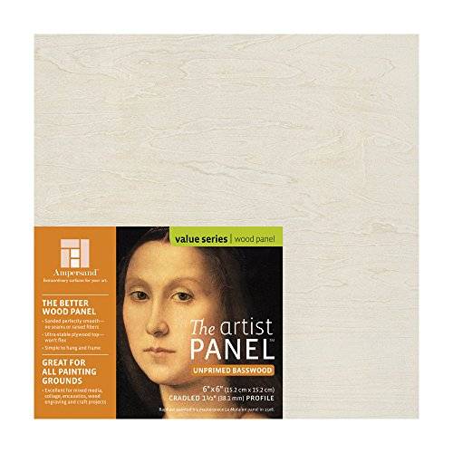 Ampersand Claybord Panel - Ampersand Art Supply Unprimed Basswood Artist Panel 1-1/2