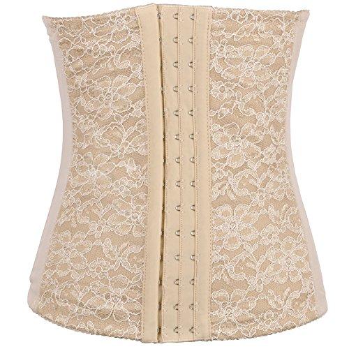 Colrovie Women's Waist Shaper Training Corset Lace Cinchers Shapewear Girdle Color Beige Size L