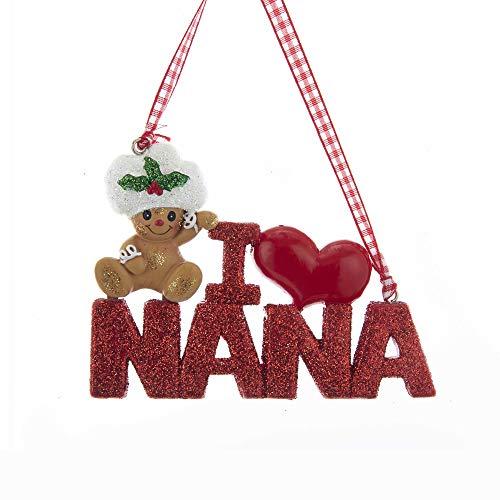 (Kurt Adler Holiday I Love Nana with Gingerbread Kid Ornament Home Decor)