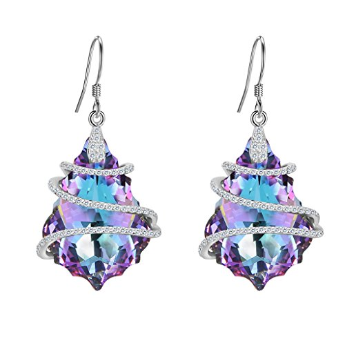 EVER FAITH 925 Sterling Silver CZ Baroque Dangle Earrings Purple Adorned with Swarovski Crystals