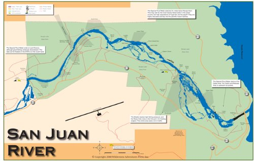 San juan river 11x17 fly fishing map masterbasser for Trout fishing new mexico map