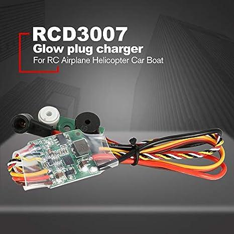 RC Metanol Motor Ontsteking RCD3007 Motor de encendido Bujía de precalentamiento Controlador de arranque para RC Avión Helicóptero Coche Barco - Verde: ...