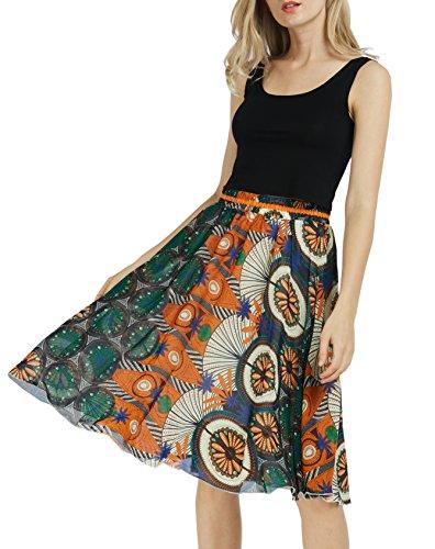Afibi Womens Floral Elastic High Waist Pleated Skater Skirt Dress Knee Length (Large, (Floral Pleated Skirt)