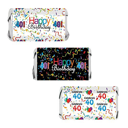 (40th Birthday Party Favors - Miniatures Candy Bar Wrapper Stickers - Multi-Colored (54 Count))