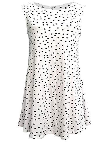 iGENJUN Women's Summer Sleeveless Swing Tunic Casual Floral Flare Tank Tops,Polka Dot-2,L