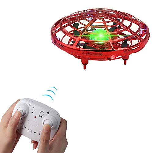 BOMPOW Drone for Kids Flying Drones Remote Control Drone with 2 Speeds and LED Light for Christmas Xmas Gift(Red)